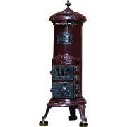 """Unique Decorative Iron Stove purchased in France, Tall & Narrow, Maroon Color, 36"""" tall"""