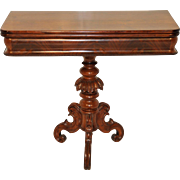 Attractive Small Empire Walnut Game or Card Table, Carve Pedestal Base