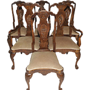 Antique English Chippendale Dining Room Chairs Set of Six Walnut Circa 1940s