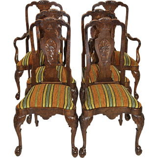 Vintage English Chippendale Dining Room Chairs Set of Six Walnut Circa 1940s