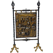 Exceptional Iron Fire Screen features Iron Legs and Bronze Decorative Shield