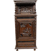 Antique French Breton Oak Cabinet, 19th Century, Narrow