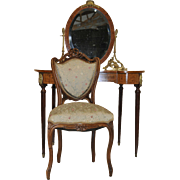 Vanity Dressing Table French Antique Louis XVI, Adjustable Mirror, Includes Chair