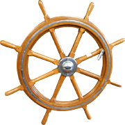 Exclusive Very Large 51 Inches European Ships Wheel Wood and Brass From Yacht Circa 1930