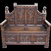Antique Gothic Bench French Seating Unique Design Walnut 19th Century