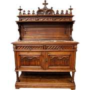 Excellent French Gothic Walnut Server includes High Crown and Marble Top