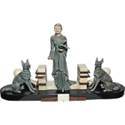 """Nice French Art Deco Statue of Woman and 2 Dogs, Marble Base 23"""" wide x 13"""" Tall, 1930s"""