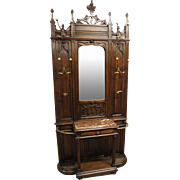 Antique French Gothic Mirrored Coat Rack for the Hall in Walnut, 19th Century, Beautiful High Spires