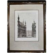 Unique Pair of French Gothic Etchings View of Ancient European Gothic