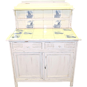 Custom Painted Cabinet or Server with Delft Style Blue Tiles