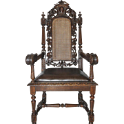 Antique European French Oak Hunt Arm Chair, Carved Floral & Grape Design,  19 Century
