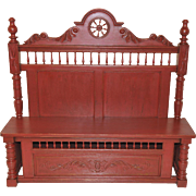 French Breton Bench Painted in Barnyard Red