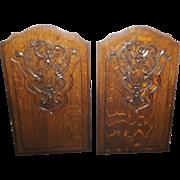 Antique French Louis XV Oak Panels Matching Pair Quarter Sewn Oak