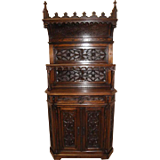 Antique French Oak Gothic Cabinet, 19th Century, Narrow Model, Heavy Gothic Carvings
