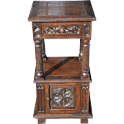 Nicely Carved Tall Antique Gothic Night Stand includes One Drawer and Small Storage Space