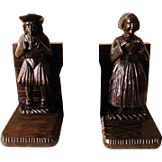 "Nicely Carved Antique French Oak Breton Bookends, 12"" Tall, Very Sturdy, Nice gift for new Office."
