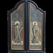 Pair of Religious French Tabernacle Doors or Art, Original Paint circa 19th Century, Art