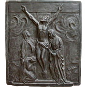 Vintage Church Panel featuring Christ's Crucifixion in Quality Bronze, Religious, Turn of the Century
