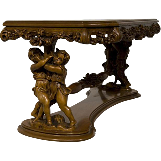 Italian Baroque Coffee Table with Large Figural Children at Play