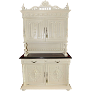 Vintage French Oak Cabinet, Painted Shabby Style, 1920's