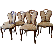 Set of Six  Vintage French Art Nouveau Dining Chairs, 1950s, Walnut with Upholstery