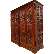 STUNNING Antique French Gothic Bedroom Armoire or Cabinet THE BEST CARVED DETAIL