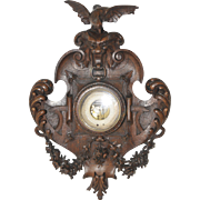 "Exceptional French Hunt Barometer features Large Carved Birds, 42"" Tall, Late 19th Century"