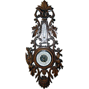 Marvelous Walnut French Hunt Barometer 1900s, Great Carvings with Wildlife
