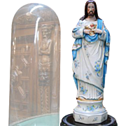 """Religious Plaster Statue of Christ with Glass Cover 16.5"""" Tall, 1940s"""