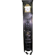 French Gothic Oak Grandfather Clock, 19th Century, Dings on hour and half hour