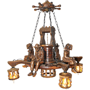 Antique French Breton Chandelier Nice Four Light Model Carved Statues