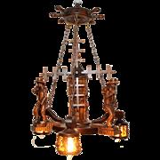 Antique French Breton Chandelier Small Petite 3 Light Model