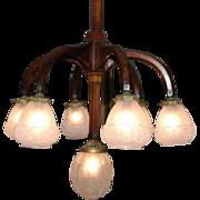 Art Nouveau Ceiling Light Fixture, French Vintage Wooden Frame, Glass Globes