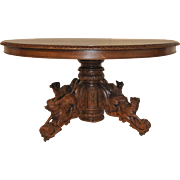 Antique French Dining Table Oak 3 Foxes and Dog  Hunting Style, Includes leaf