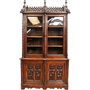 Fantastic French Gothic Bookcase, Oak 19th Century, Carved Dragons