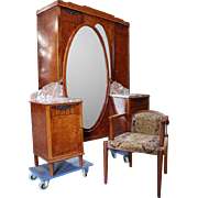 Vintage Bedroom Set Art Deco French Walnut Burl Wood
