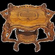 Tea Cart Antique French Large Cherubs Walnut Wonderful Design