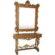 RARE French Antique Console Entry Foyer Mirror Stunning Gold Cherubs a Masterpiece