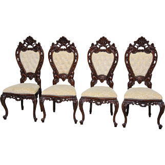 Italian Baroque Dining Chairs With Carved Figures Compete Set of Four