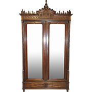 Antique French Gothic Armoire in Walnut 19 Century Great Model