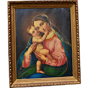 Antique Religious Painting Blessed Mother Baby Christ Oil Gothic Famous Painter Jos Führich Pinx 1839