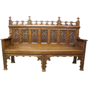Antique Gothic Bench French Special Model Walnut 19th Century