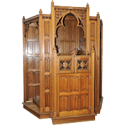 EXCEPTIONAL Church Confessional, Highly Carved Gothic Religious