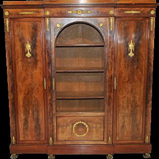 English Empire Bookcase, Storage Cabinet, Walnut