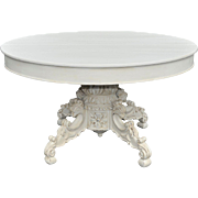 Terrific Antique French Renaissance Round Dining Table, Painted Shabby Chic Style, Late 19th Century