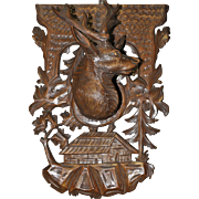French Black Forest Beautifully Carved Elk Wall Plaque Walnut