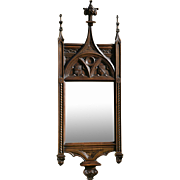 Antique French Gothic Mirror Solid Walnut 19th Century Impressive Tall Narrow Model