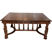 Beautifully Carved Antique French Dining Table, Walnut, 19th Century