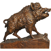 Antique Black Forest Wild Boar Hand Carved French Walnut