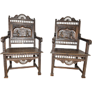 Antique French Breton Arm Chairs Matching Pair Wonderful Art in Furniture